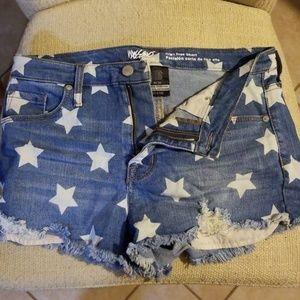 Star Print Denim Shorts